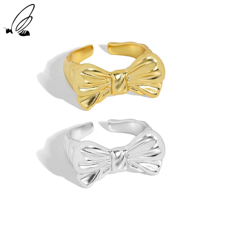 Женское золотое кольцо с бантом, из серебра 925 пробы