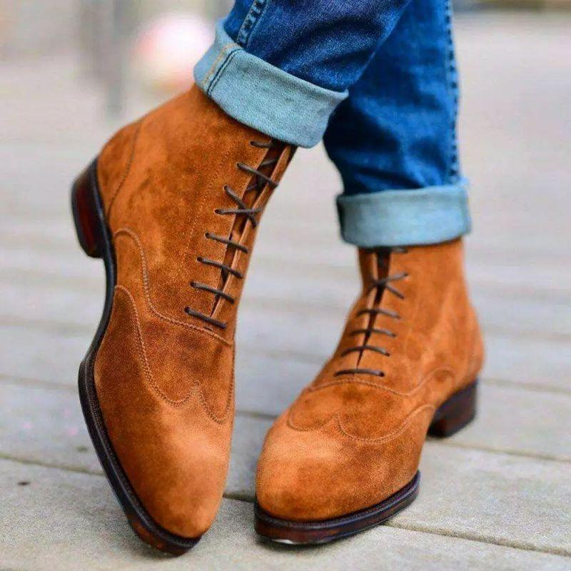 2021 الخريف والشتاء جلد بو للرجال أنيقة النقش الدانتيل متابعة الكلاسيكية الكاحل الرجال الشتاء موضة عادية أحذية قتالية XM396