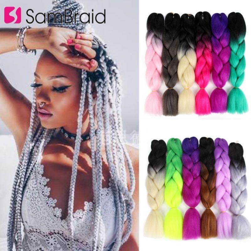 SAMBRAID 24 Inch Braiding Hair Ombre Jumbo Purple Pink Colorful Braids  Crochet braids Extension Synthetic 100g/pcs