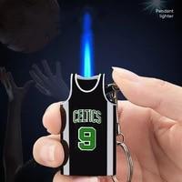 creative lighter basketball jersey shape gas windproof lighter keychain pendant fashion trendy mens cigarette lighter