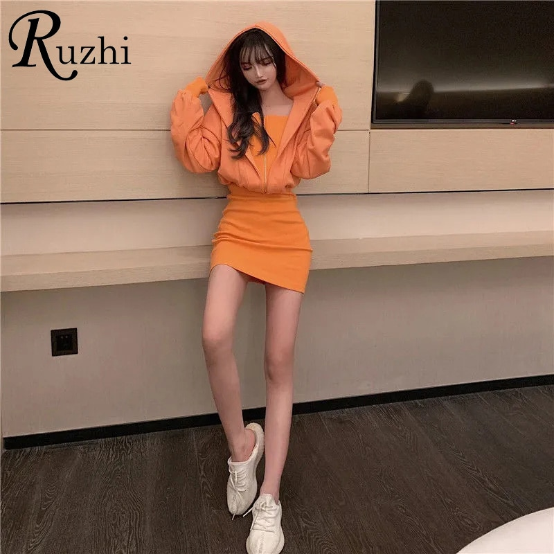 Платье с имитацией двух капюшонов, однотонные свитшоты в Корейском стиле, мини-платья с капюшоном, толстовки с высокой талией и молнией, пла...