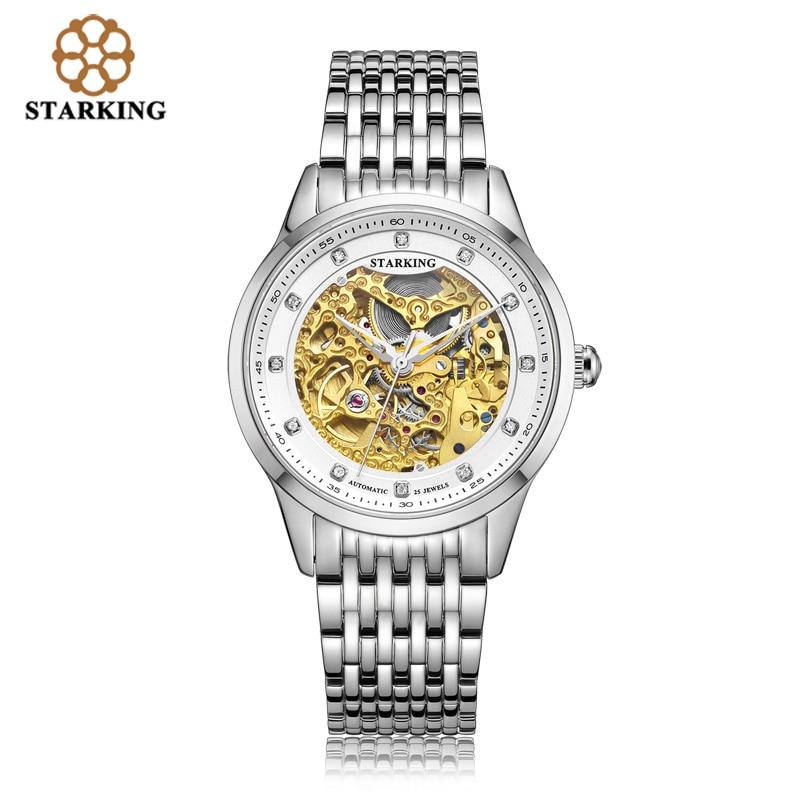 STARKING Golded Automatic Mechanical Skeleton Watch Men Geneva 2019 New Arrival Luxury Brand Genuine Leather Strap Retro Watch