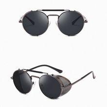 Rock Sunglasses for Men Women Retro Round Steam Unisex Side Shield Goggles UV400 Metal Frame Gothic