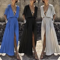 2021 ladies summer new deep v neck solid color sleeves big swing skirt suit for formal wear onk long dress work outfit brazer