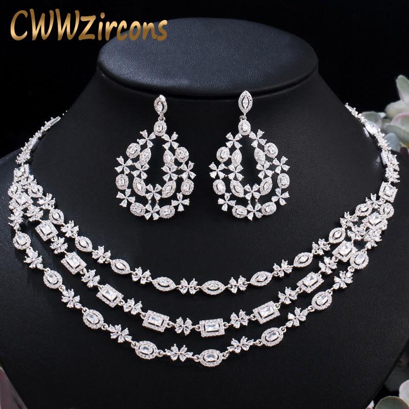 CWWZircons-طقم مجوهرات الزفاف ، مرصع بأحجار الزركونيا المكعبة ، قلادة وأقراط ، إكسسوارات أزياء الزفاف T453
