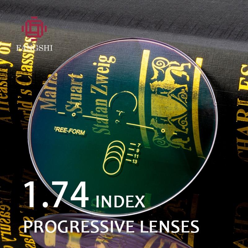 1,74 de alto índice de prescripción óptica asférica Multifocal progresivo lente resina libre de forma verde revestimiento gafas lentes # PRO-04
