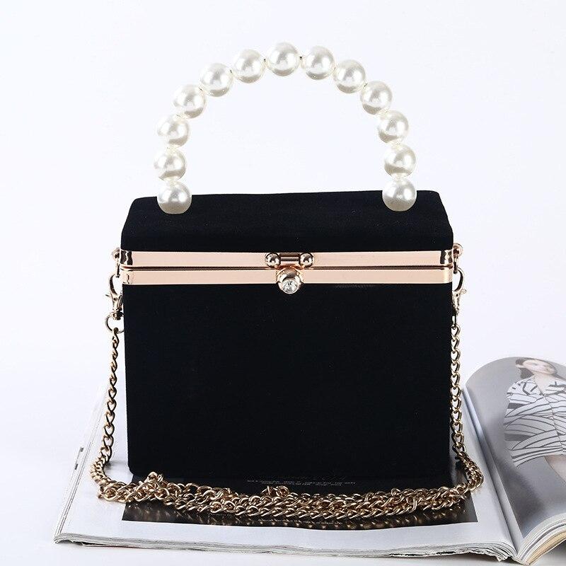 حقيبة سهرة سوداء للنساء ، حقيبة يد فاخرة على شكل صندوق ، مقبض لؤلؤي ، حقيبة كتف بسلسلة ، ZD1834