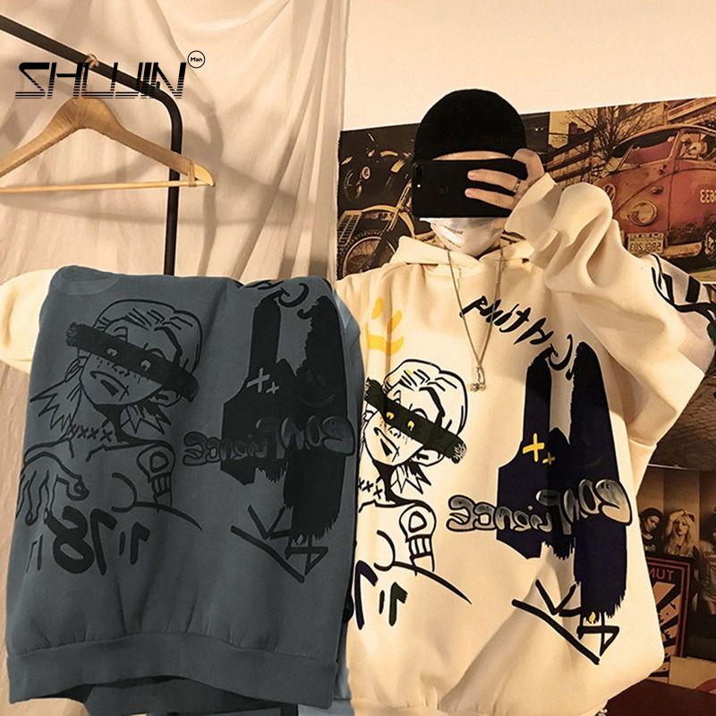 AliExpress - Men's Hoodies Men Harajuku Sweatshirt Fashion Male Japanese Streetwear Oversized Anime Hoodie Comfortable Men Sweatshirts