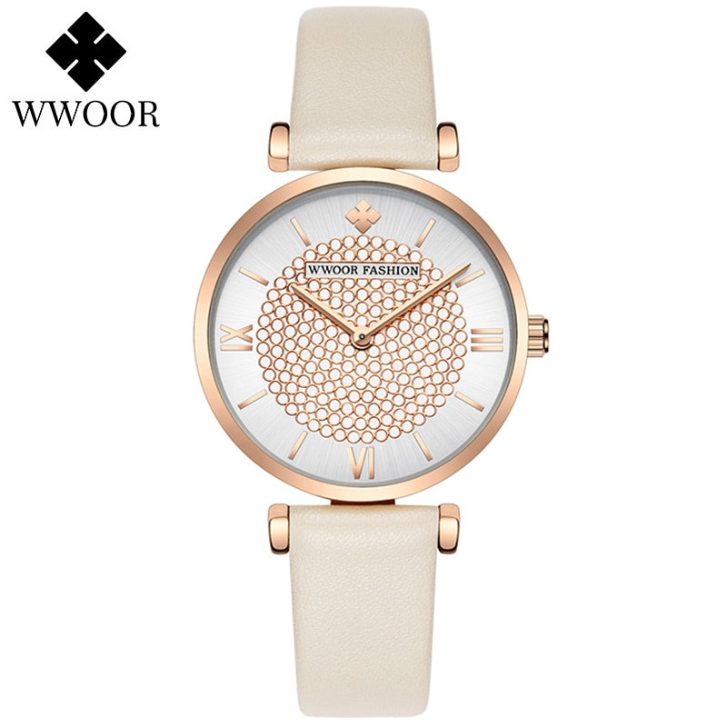 WWOOR Watches Women Luxury Rose Gold Quartz Ladies Wrist Watch relogio feminino Fashion Leather Band Watch For Women Reloj Mujer enlarge