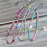 hot boho wrist lanyard chain for mobile phone holder keys id card cute summer flower fruit handphone strap hanging rope