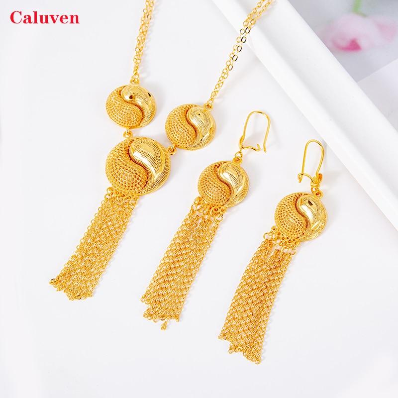 Joyería nupcial, Joyería Árabe, juegos de joyas para mujer, juegos de pendientes africanos etíopes, collar de Color dorado