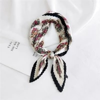 square snake pattern crinkle silk scarf for women crumple neck wear pleated yellow handkerchief foulard femme bandana designer