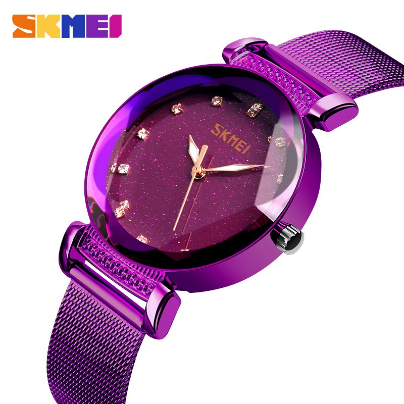 SKMEI Fashion Women Watches Quartz Sport Ladies Watch Stainless Steel Strap 3Bar Waterproof Watches Reloj Mujer Zegarki Damskie enlarge