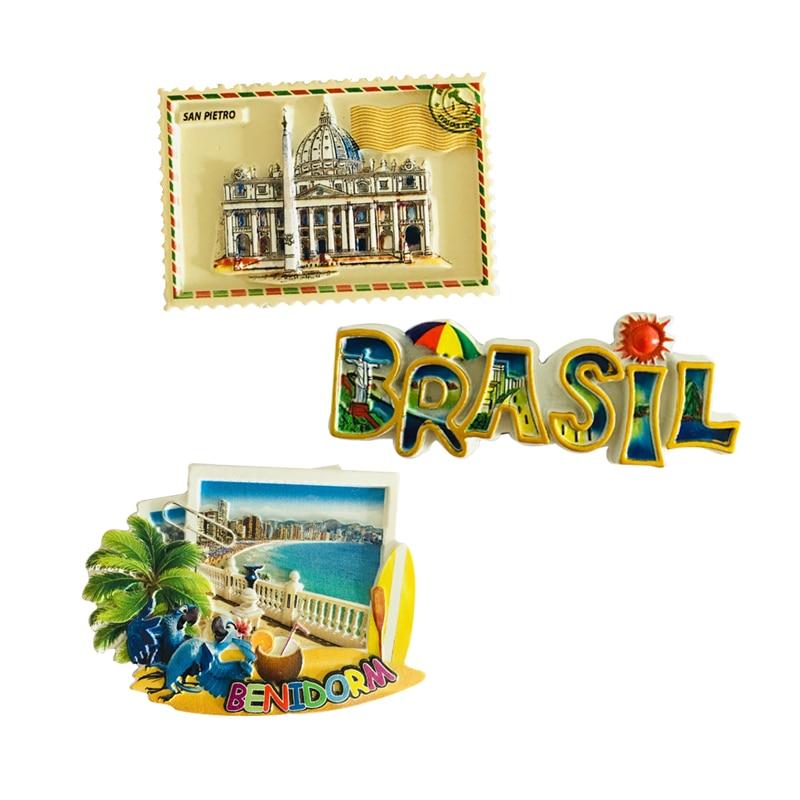Brazil Roma San Pietro Spain Benidorm Travel Souvenir Fridge Magnets Home Decoration Magnetic Refrigerator Stickers Gift Kid Toy