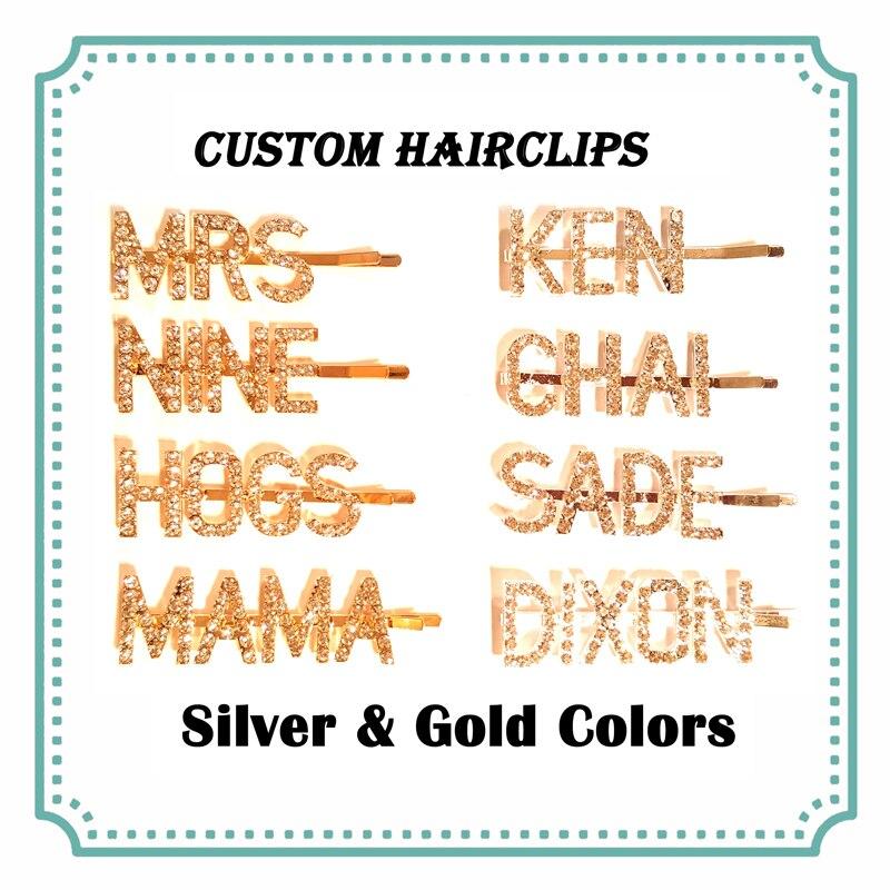 Horquillas personalizadas con nombre y palabra para el pelo con letras personalizadas, horquillas para el pelo personalizadas, horquillas para el pelo en colores plateado y dorado