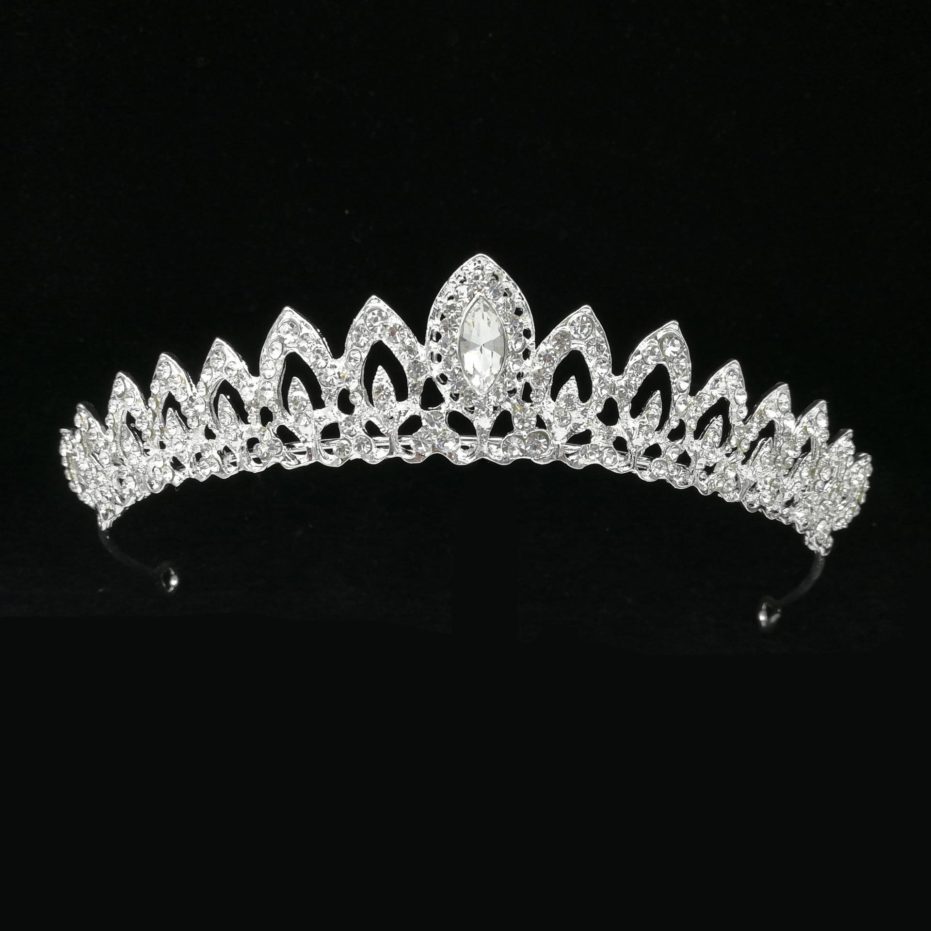 Tiara nupcial De cristal rosa para mujer, corona De princesa, adorno para...