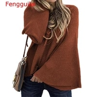 women solid o neck flare sleeve knitted sweater autumn winter fashion female pullover sweaters ladies loose casual knitwear