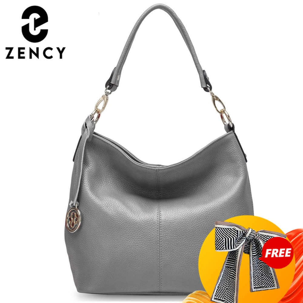Zency Fashion Purple Women Shoulder Bag 100% Genuine Leather Elegant Tote Handbag High Quality Female Messenger Bags Classic