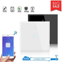 TUYA     interrupteur mural tactile WiFi intelligent  1 2 3 boutons  110-250V  pour Alexa Google Home Assistant Touch Smart Control