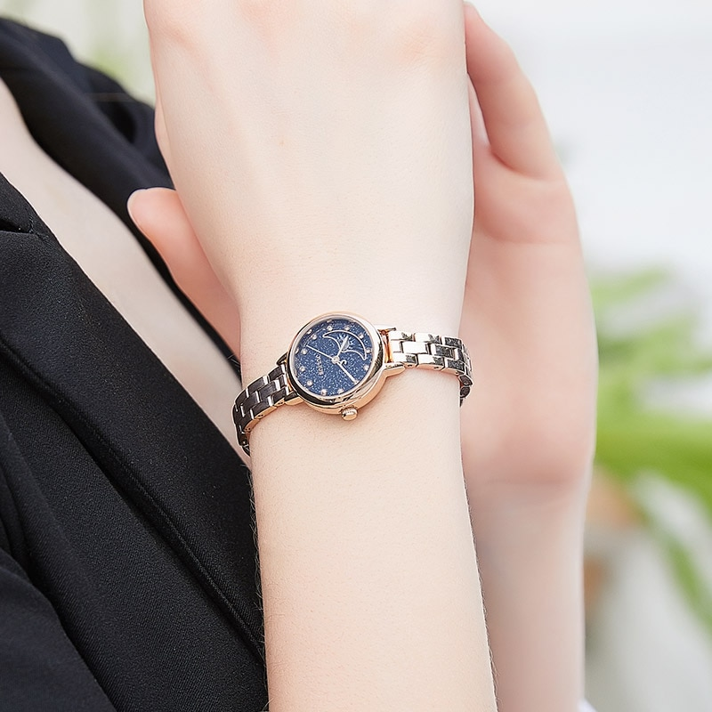 Top Brands Gifts for Women Luxury Designer Watches for Women Gold Staineless Steel Moon Phase Sparkling Diamond Wristwatches enlarge