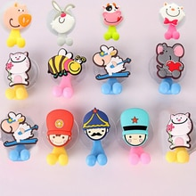 Multifunctional Cute Cartoon Animal Suction Cup Toothbrush Holder Hooks Bathroom Accessories 24 Colo