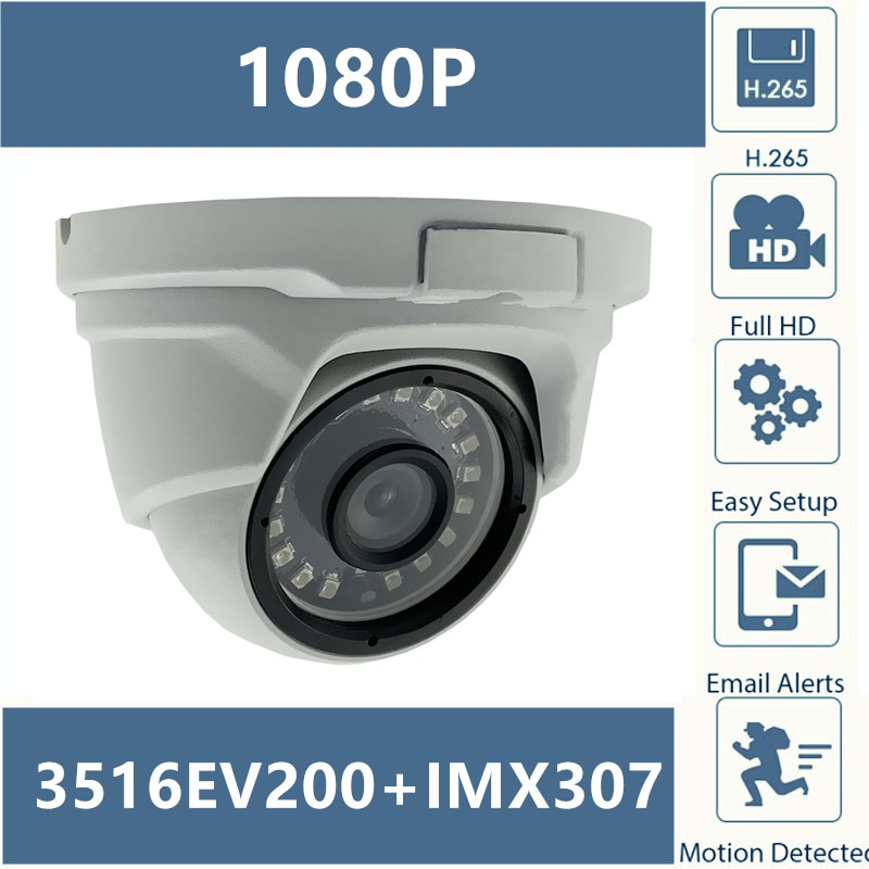 Sony IMX307+3516EV200 IP Metal Dome Camera H.265 Low illumination 1080P 25FPS 18 LEDs Infrared IRC CMS XMEYE ONVIF P2P Cloud