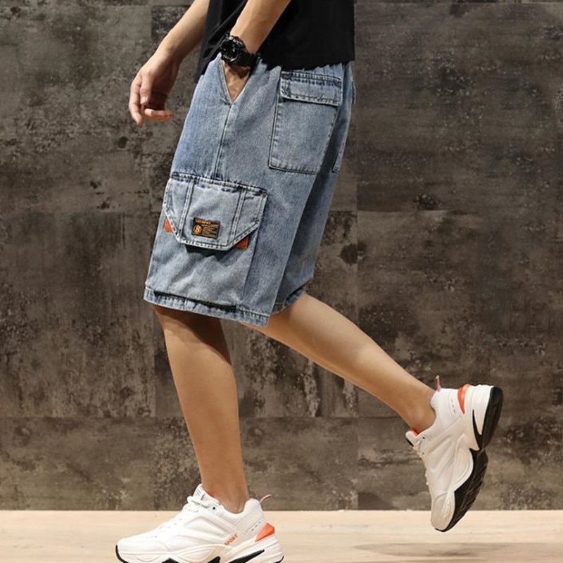 New Arrival Men's Denim Shorts Knee Length Summer Baggy Casual Short pants Plus Size Straight Trouse