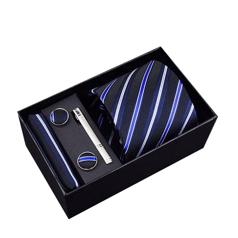 Gift Box Packing Men`s Tie 100%Silk Jacquard Woven Necktie Hanky Cufflinks Set For Formal Wedding Business Party Men Classic Tie недорого