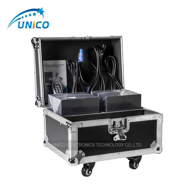 2pcs cold sparks machine with flycase 600w Cold Firework Machine DMX Remote Control Sparking Spark Machine For Wedding