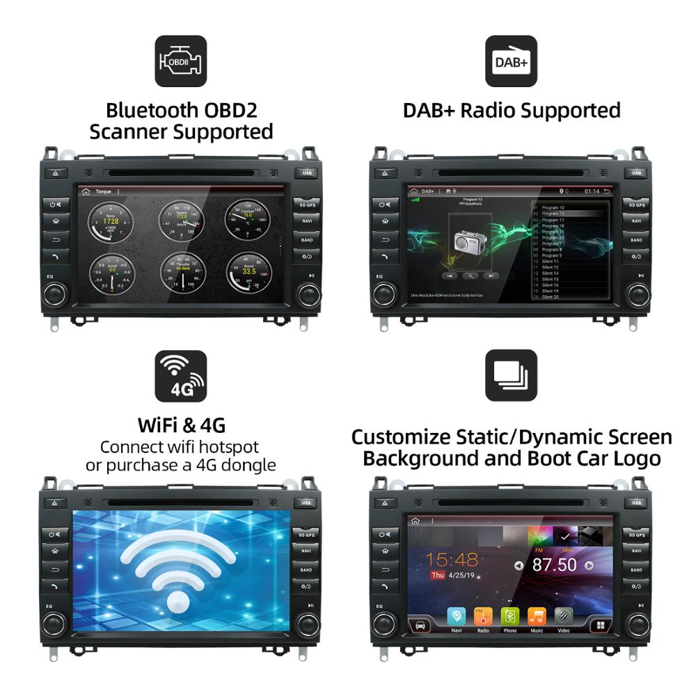 2din Android 10.0 Auto Radio Car DVD Multimedia for Mercedes Benz B200 A B Class W169 W245 Viano Vito W639 Sprinter W906 GPS DAB