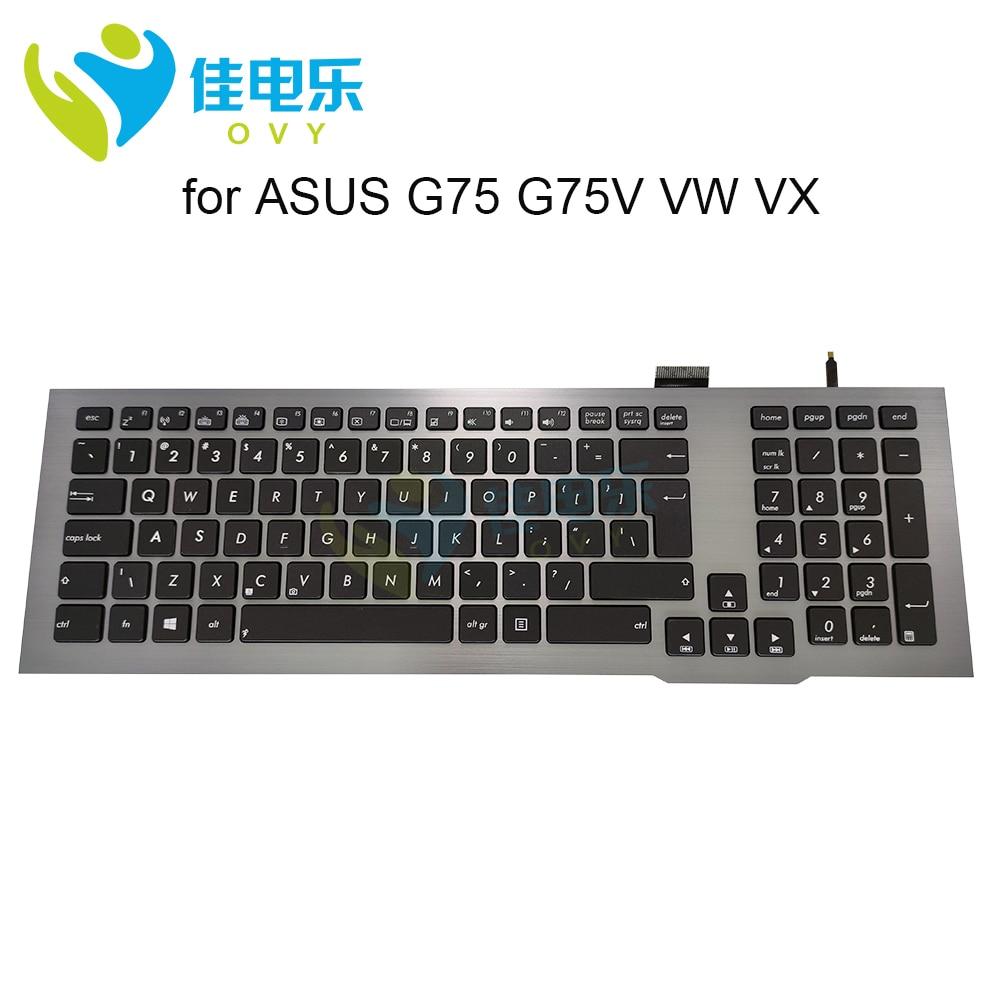 OVY استبدال لوحات المفاتيح ل ASUS ROG G75 VX G75V G75VW UI كبير مفتاح enter الأسود KB الفضة إطار الخلفية لوحة المفاتيح 0KNB0 9414TU00