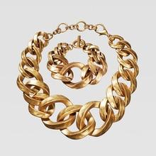 Dvacaman ZA Gold Color Chain Necklace Chokers Women Metal Circle Link Statement Necklaces Maxi Punk Fashion Party Jewelry 2019