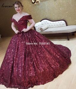 Plus Size Dubai Burgundy Prom Dresses A-Line Sequins Arabic Evening Dresses Women Party Night Long Suknie Wieczorowe Gowns