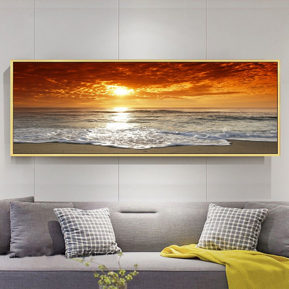 Sunrise Over Sea Beach Nature Picture On Canvas Wall Art Poster And Prints Seascape Wall Painting For Living Room Decoration
