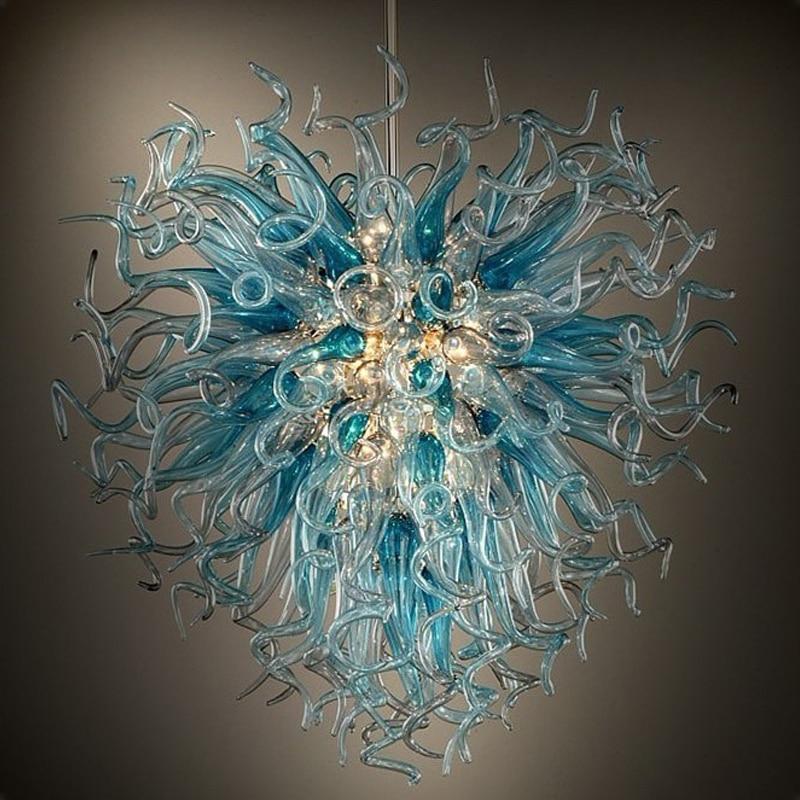Lámpara de araña de lujo hecha a medida lámpara de araña de cristal soplada a mano LED para decoración del hogar interior