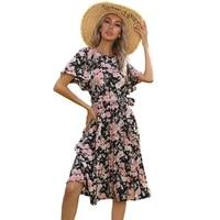 elegant floral print beach dress women o neck short sleeve slim midi dresses women summer chic white black dress female cx1797