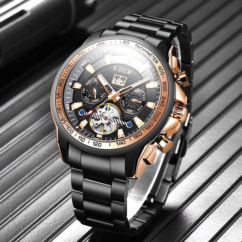 LIGE-ساعة أوتوماتيكية من الياقوت والزجاج ، ساعة ميكانيكية رياضية من الفولاذ الكامل ، مقاومة للماء حتى 100 متر ، للرجال