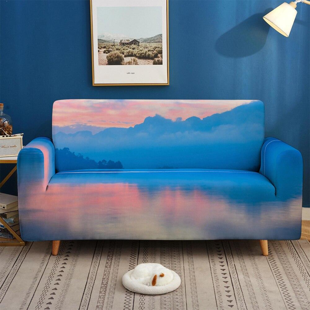 Funda de sofá 3D con hermoso paisaje, funda de sofá elástica de 1/2/3/4 plazas, fundas de sofá con cubierta deslizante para sala de estar