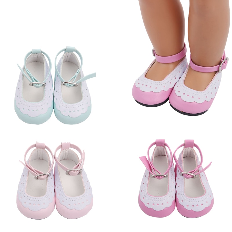 Zapatos de muñeca para niñas de 18 pulgadas, zapatos de vestir rosa, zapatos de princesa, zapatos de PU para recién nacidos, juguetes para bebés de 43 cm, muñecas para bebés s13
