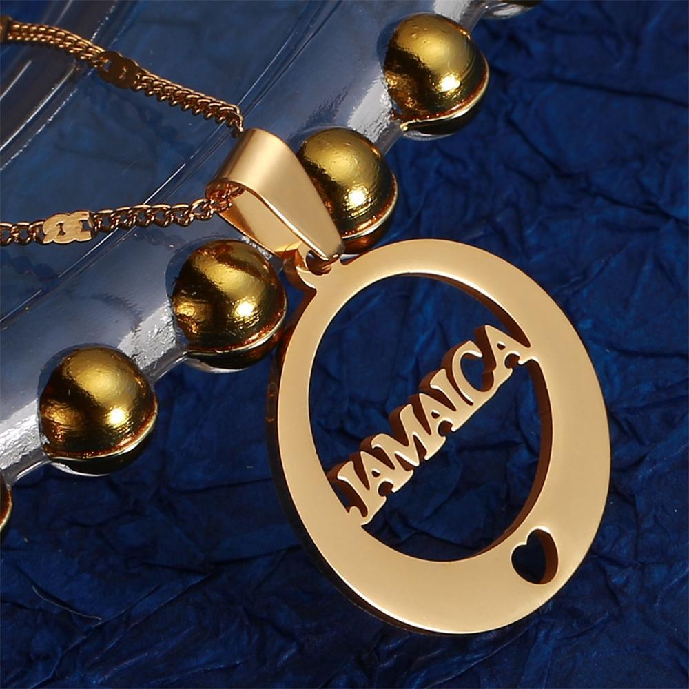 Collar de acero inoxidable con colgante de moda de alfabeto redondo de Jamaica, Color dorado, corazón, joyería jamaicana