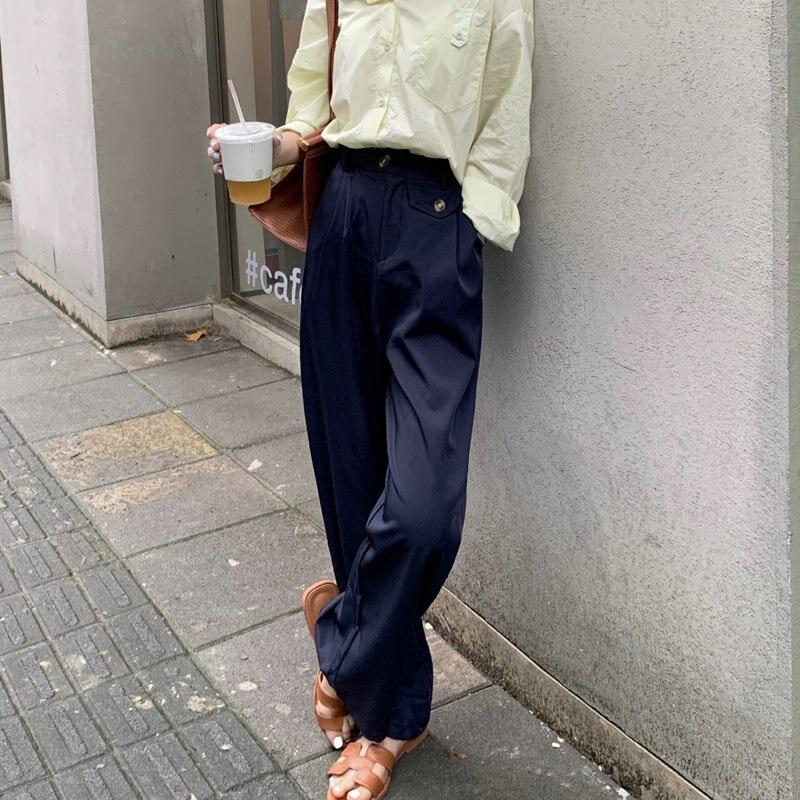 Hzirip Caliente De Talla Grande Fina Recta De Moda Breve Delgado Casual De Cintura Alta Para Mujeres 2020 Elegante Suelto Solido Slim Pantalones Largos Leather Bag