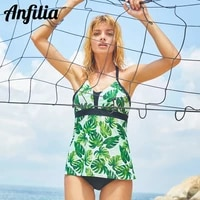 anfilia women leaf printed tankini set two piece swimwear vintage floral printed swimsuit strappy swimsuits push up bathing suit