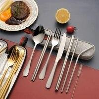 titanium plated 1010 stainless steel cutlery chopsticks 304 stainless steel straws 9 piece portable tableware set