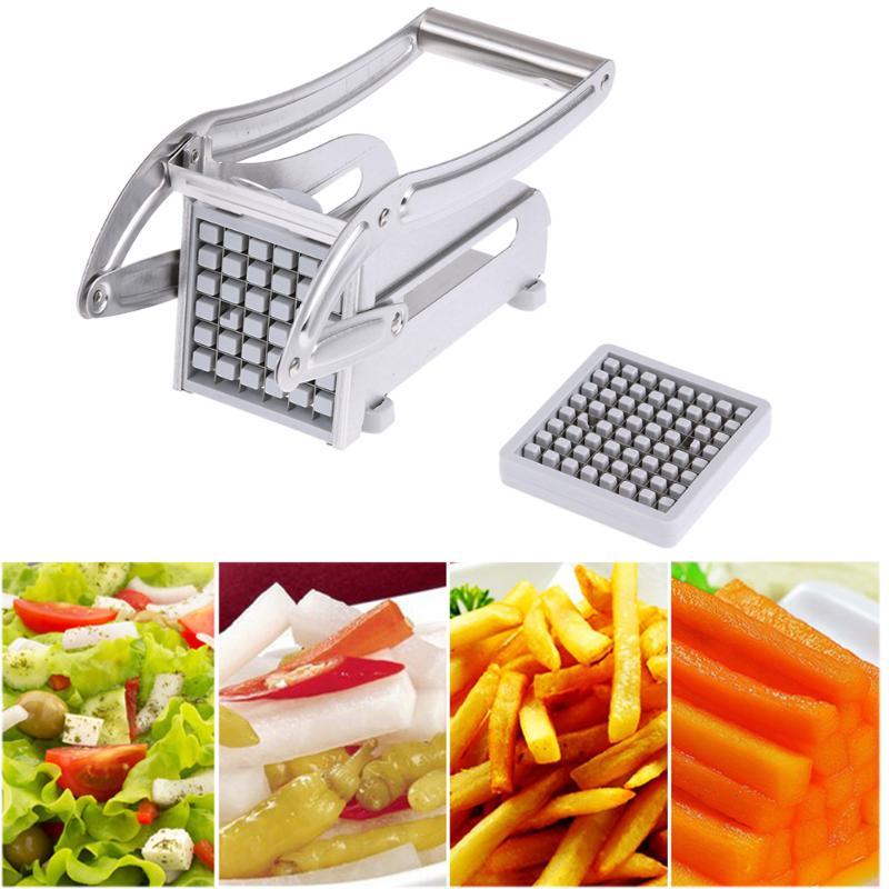 Máquina cortadora de patatas fritas de acero inoxidable máquina cortadora de tiras de patatas fritas máquina cortadora de acero inoxidable 2 cuchillas de cocina