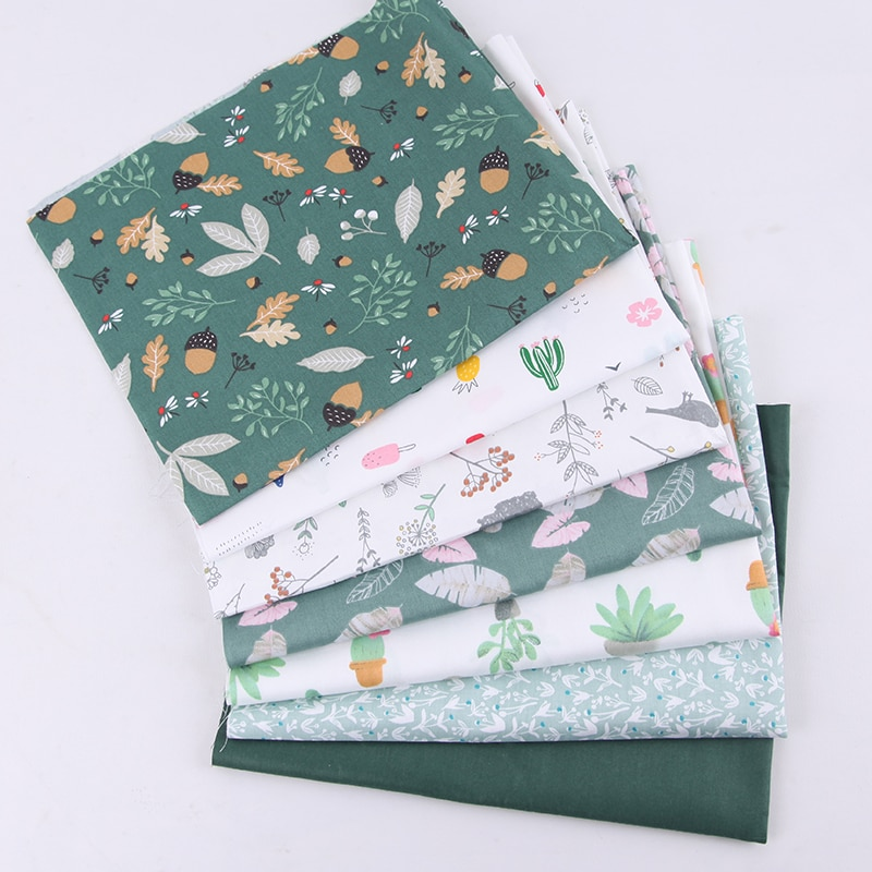 6Pcs/7Pcs 20*25cm Sewing Supplies Nordic Style Cotton Patchwork Cloth DIY Handmade Flower Pattern Sewing fabric for Household