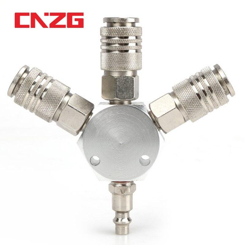 Europa estilo ue 3 theee maneira coletor rápido acoplador 1/4 acoplamento para compressor de ar ferramentas manifold splits