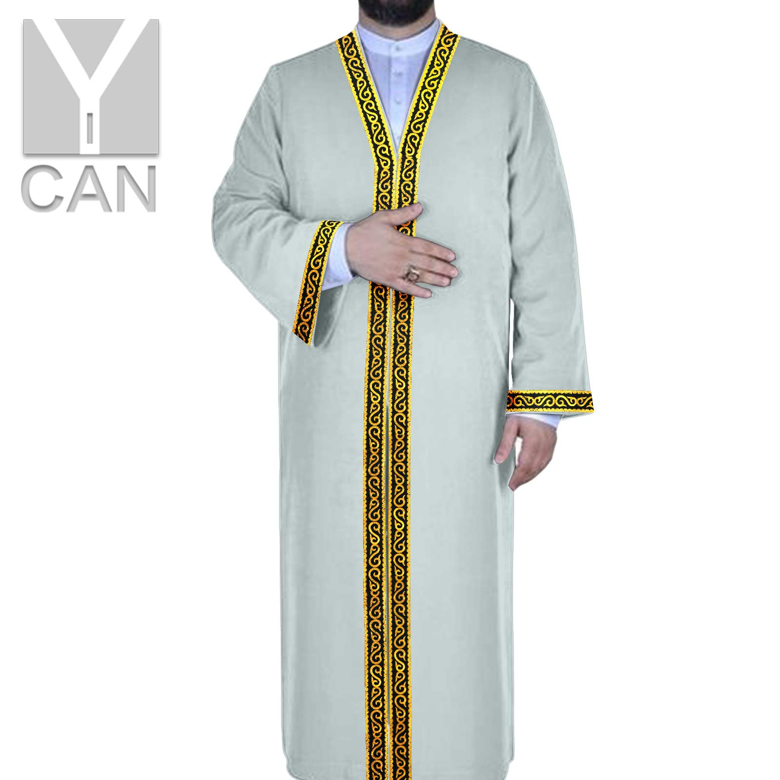 Y-CAN Muslim Fashion Men Islamic Abaya Dubai Robes Kaftan Lace Long Sleeve Modal Texture Robe Man Jubba Thobe Y201027