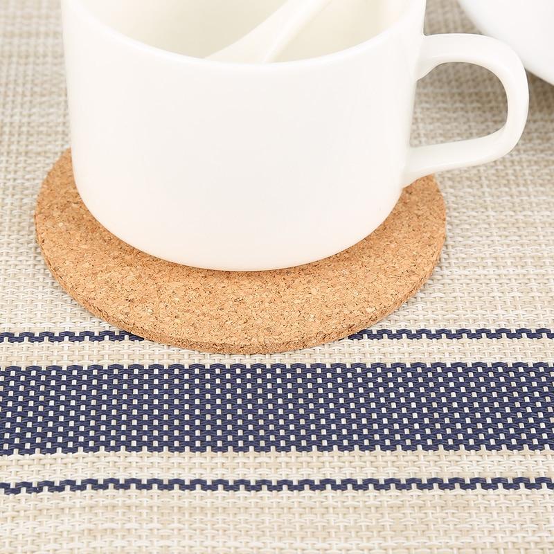 1PC aislamiento simple ronda corcho posavasos café taza de té de manteles de vino de mesa Mat Oficina Mat no- slip Tablewarecoasters