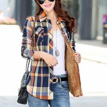 Hiver chaud Blouses femmes manteaux haut dautomne Camisa Femininas à manches longues épais velours Plaid chemise flanelle chemises haut en coton