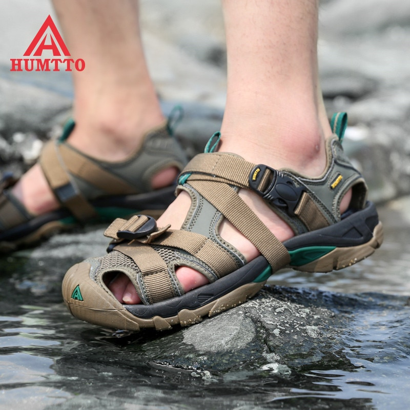 HUMTTO Outdoor Summer Men Sandals Fashion Breathable Mesh Casual Women Beach Shoes Mens Big Size Hiking Sandal Sneakers Woman
